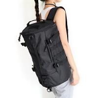 旅行包手提单肩行李袋健身运动双肩背包书包筒包户外休闲学生 黑色 大