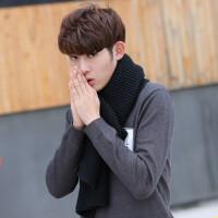 男士围巾秋冬季超长加厚纯色针织围巾学生年轻人冬天毛线围巾韩版