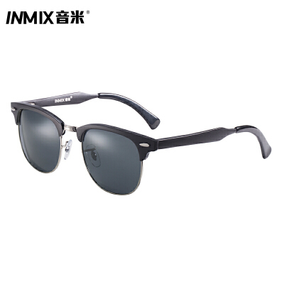 音米板材偏光开车墨镜个性优雅女圆脸复古眼镜太阳镜女潮 5096