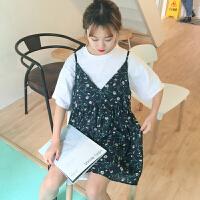 春夏女装韩版小清新压褶碎花吊带裙学生中长款V领无袖连衣裙显瘦