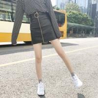 春季女装新款韩版时尚pu皮裙拉链高腰A字短裙学生高腰包臀半身裙