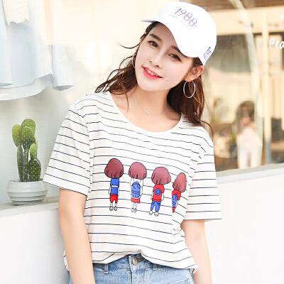 夏季新品韩版百搭宽松条纹卡通图案圆领短袖T恤女棉小衫潮