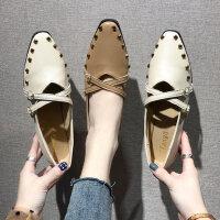 女士休闲玛丽珍鞋 新款网红风豆豆鞋 时尚平底尖头铆钉单鞋女 浅口鞋子女
