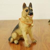 仿真德国牧羊犬 汽车家居装饰工艺品桌面摆件 树脂小狗狗模型礼物
