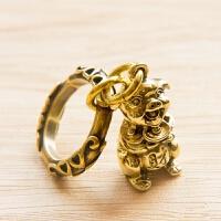 复古创意纯铜黄铜十二生肖元宝猪钥匙扣挂件吊坠饰品项链配饰礼品