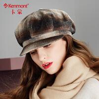 冬季帽子女英伦毛呢八角帽女士时尚格子贝雷帽冬天报童帽画家帽2412
