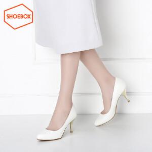鞋柜shoebox新品细跟尖头套脚高跟鞋 韩版女鞋