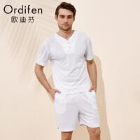 【 开学季 2件3折到手价:137】欧迪芬男士短袖上衣商场同款白色V领t恤家居外穿服HV8711