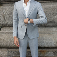 潮男装 秋季新款男式西服套装休闲商务西服新郎婚礼西装套 灰色
