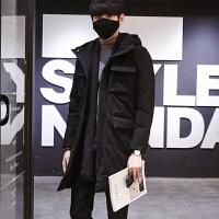 冬季男士时尚中长款棉衣韩版修身青少年潮流连帽外套男 黑色