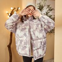 【新品259.9元】唐狮冬季新款羽绒服女短款小个子迷彩休闲厚外套女宽松面包服