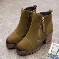 秋冬新款女鞋真皮磨砂皮粗跟高跟短靴女马丁靴侧拉链靴子棉靴