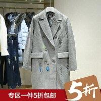 毛呢大衣冬装新款 韩版百搭休闲中长款呢子外套 商场同款女装