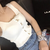 chic吊带背心女针织系带外穿2018春夏新款短款露脐显瘦无袖打底衫 均码