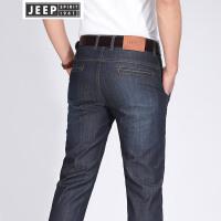 JEEP吉普牛仔裤男士春夏弹力修身牛仔长裤直筒休闲宽松青年裤子男裤