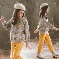 女童秋冬装洋气套装加绒时髦童装网红两件套潮