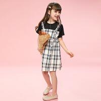 女童�B衣裙夏�b中大童�和��b裙子夏季女孩格子裙