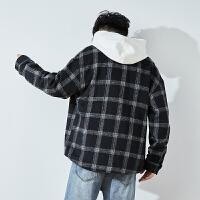 [直降]唐狮冬季加厚保暖格子衬衫外套男士韩版潮流帅气外穿黑白长袖衬衣