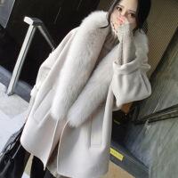 2018秋季新款羊绒大衣女2018秋冬新款毛呢外套女中长款狐狸毛领宽松茧型呢大衣
