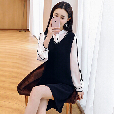 2018新款女装春装衬衫加背心显瘦连衣裙两件套气质时髦潮流套装裙