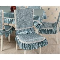 桌布布艺餐桌布椅套椅垫套装靠背椅子套罩家用欧式现代简约餐椅套 天蓝色 馨雅佳人蓝色中式
