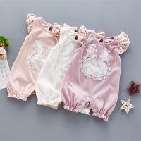 夏季女宝宝短袖爬爬服连体衣荷叶边洋气薄款哈衣婴儿短袖夏装