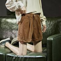 【2.5折价52元】唐狮冬新款休闲短裤女韩版宽松灯芯绒短裤女休闲裤子女