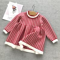 女宝宝连衣裙6个月婴儿秋装1岁2公主裙洋气格子裙3针织毛衣裙子