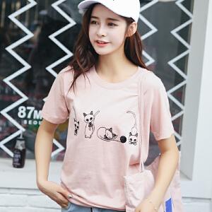 韩版宽松百搭猫咪绣花短袖T恤棉圆领半袖女装上衣小衫
