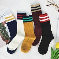 秋冬新款韩版学院风少女袜子条纹中筒袜百搭运动袜女士棒球袜