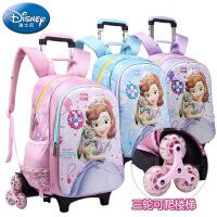 迪士尼儿童拉杆书包小学生6-12周岁苏菲亚1-3-5年级三轮女童背包W