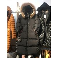 N5棉衣女中长款新大毛领 韩版棉袄宽松冬季学生面包服0.9