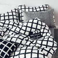 家纺北欧简约全棉纯棉床上用品四件套风款4三件套床单被套床笠