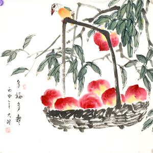 著名画家 张大羽《多福多寿》68cmx68cm