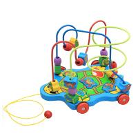 儿童木制拖拉玩具 拖拉绕珠益智早教玩具 婴儿宝宝套组幼儿园