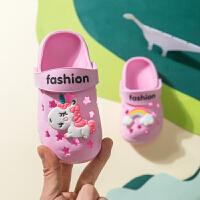 �和�拖鞋夏女童����1-3�q2�鐾闲�男童防滑小孩室�溶�底卡通洞洞鞋