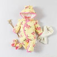 婴儿连体衣服男女宝宝0岁3个月新生儿冬季春秋装秋冬季哈衣外出服