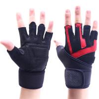 健身手套男士真皮手掌 运动手套加长护腕 器械健身手套 透气防滑 黑镶红色