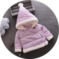 童装女童2017新款冬装小童加厚外套女宝宝韩版羽绒棉棉衣棉袄jyl 紫色 70cm