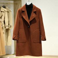 双面呢大衣女冬装新款 翻领微喇叭袖一粒扣纯色呢子外套