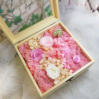 diy材料包 玻璃罩火烈鸟摆件手工戒指首饰礼品盒送闺蜜 粉色 20cm大号盒
