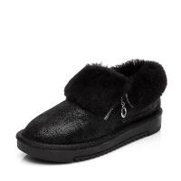 冬季新款保暖牛皮毛一体低筒雪地靴女 羊毛拉链棉鞋女防滑女冬鞋