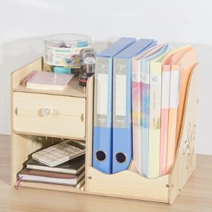 书架 创意桌面收纳架多层抽屉式储物整理盒木质收纳盒桌上A4文件置物储物架子家具用品