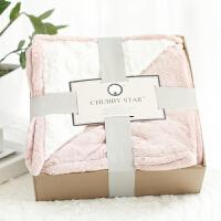 家纺复合双层法兰绒米花绒沙发毯膝盖毯午睡学生办公室毯子 礼盒包装 127cmx178cm