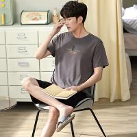 小情歌夏季新款纯棉短袖短裤两件套男士睡衣休闲大码可外穿家居服LS2126