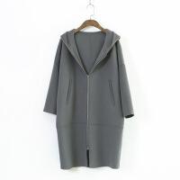224-0994韩版秋季新款女式纯色双面毛呢大衣连帽拉链长款风衣外套