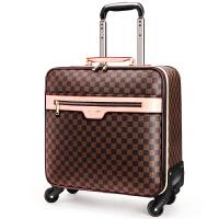 皮箱拉杆箱男16寸商务登机箱20/24寸复古行李箱女密码箱 格子咖啡色横款 16寸(横款正方形可登机 赠送真皮皮带+箱