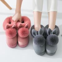 高跟棉拖鞋女包跟厚底冬季韩版可爱室内保暖冬天家居家毛毛月子鞋