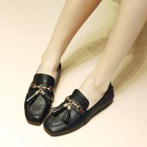 O'SHELL欧希尔新品026-166-41韩版平跟流苏女士单鞋