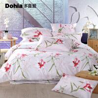 多喜爱家纺套件精致贡缎床上用品田园风四件套百合香